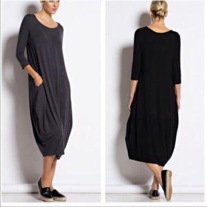 Dresses & Skirts - Charcoal grey loose fit side pocket dress